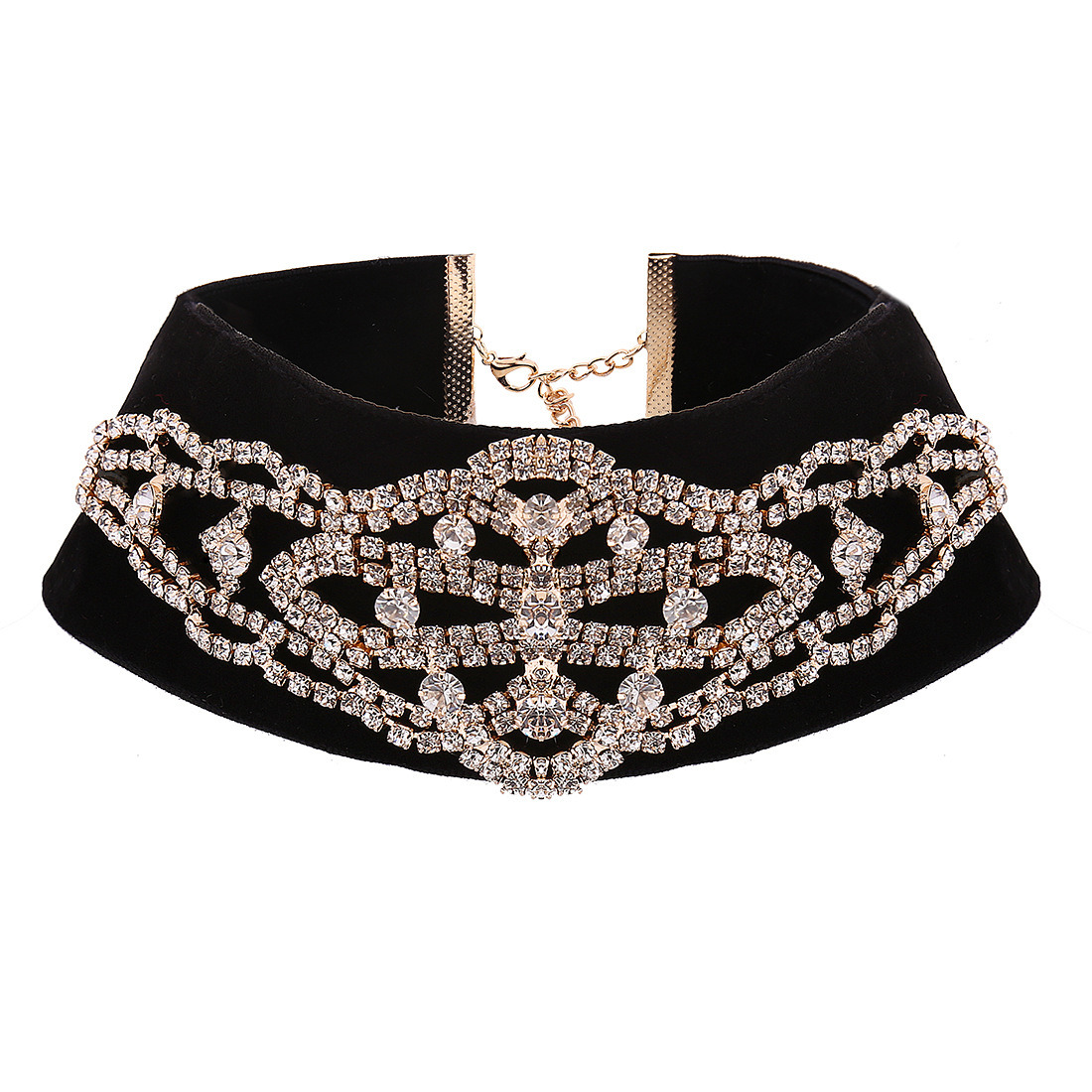 Fashion Vintage Velvet Designer Rhinestone Diamond Choker Necklace Jewelry
