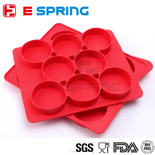 Round Shape Silicone Burger Press 8 in 1 Hamburger Mold