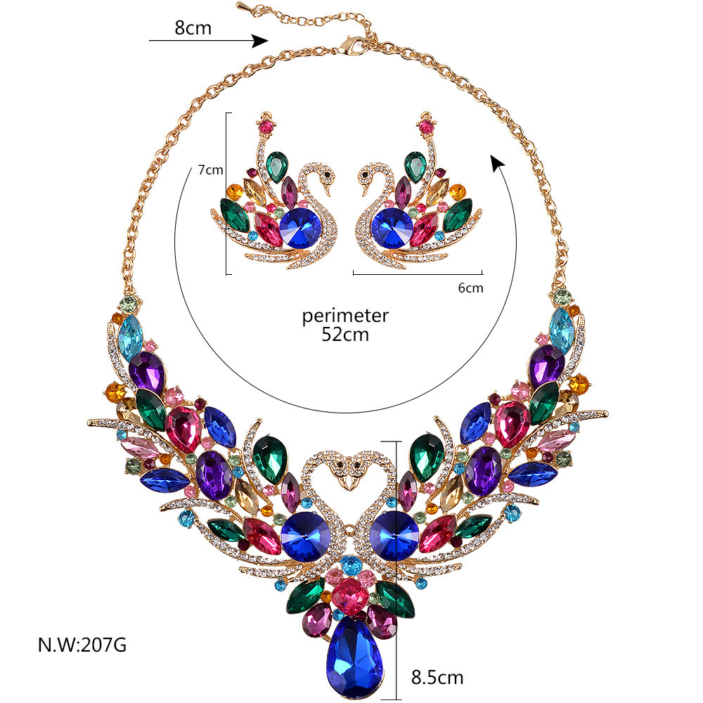 Fashion Swan Colorful Crystal Necklaces Earrings 2 PCS Set Jewelry