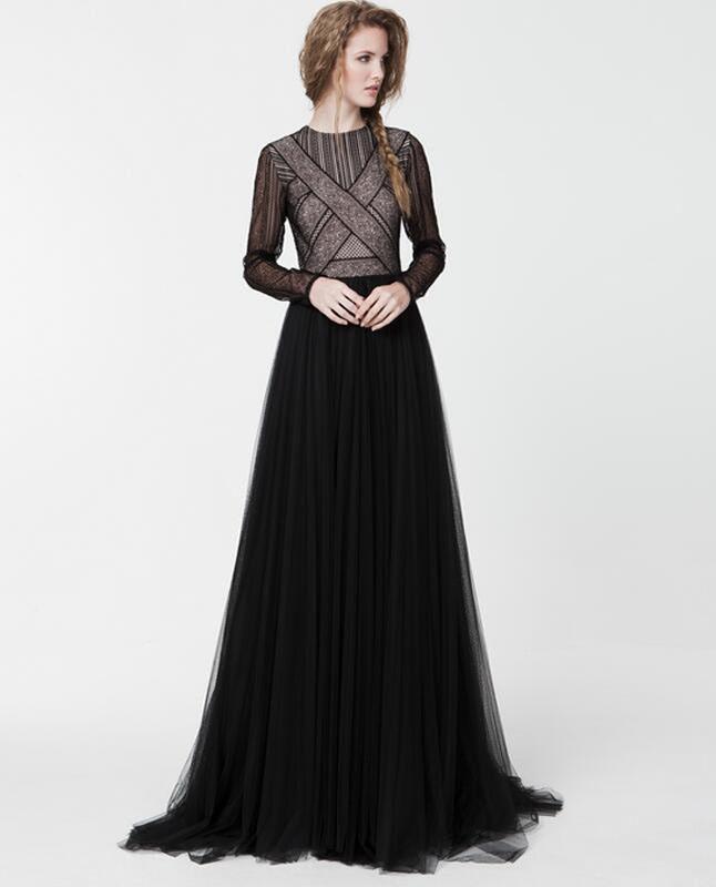 New Fashion Long Sleeve Evening Dress Elegant Slim Lady Formal Dress