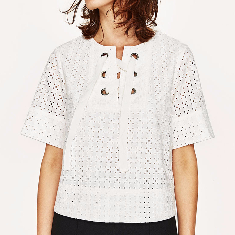 Ladies Fashion Short Sleeves T-Shirt Hollow Bandage Blouse