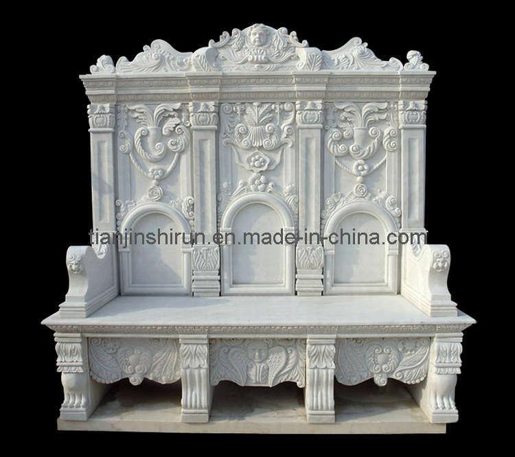 White Marble Carving Garden Bench (1207)