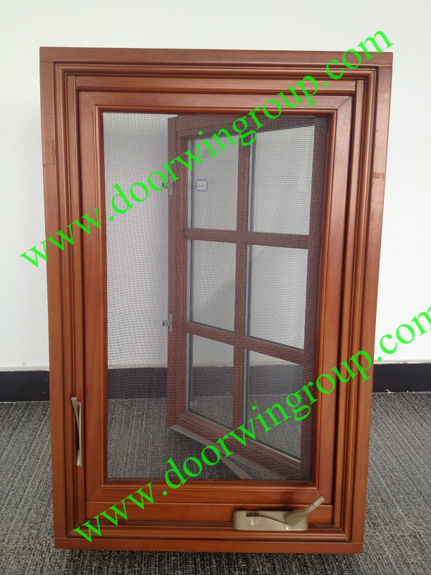 USA Most Popular Wood Aluminum Casement Window with Transom