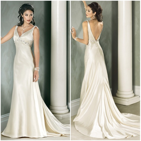 China modern low back simple elegant charming champagne for Simple elegant wedding dress designers