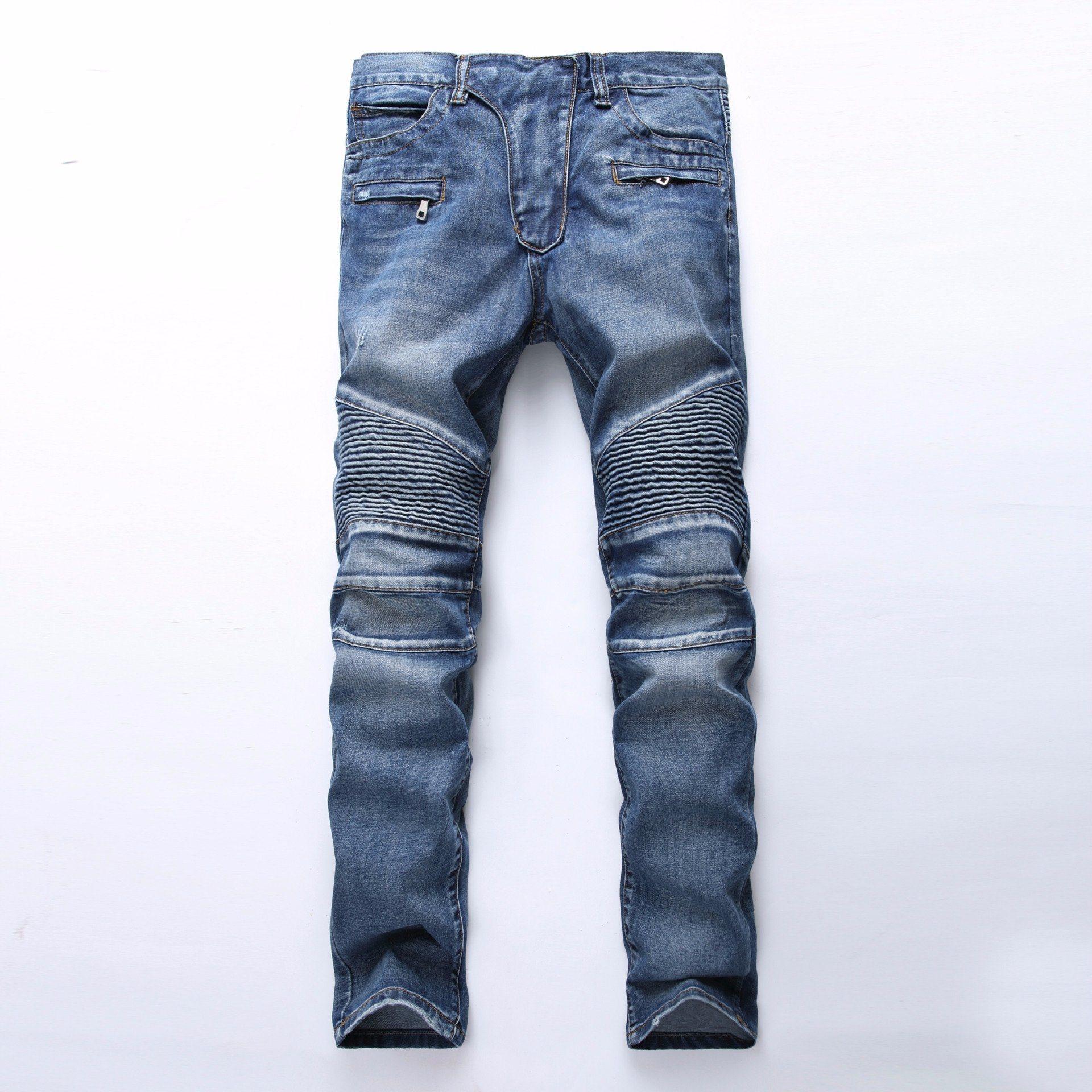 Fashion Skinny Biker Jeans for Men Denim Ripped Men Jeans Thick Denim Biker Jeans