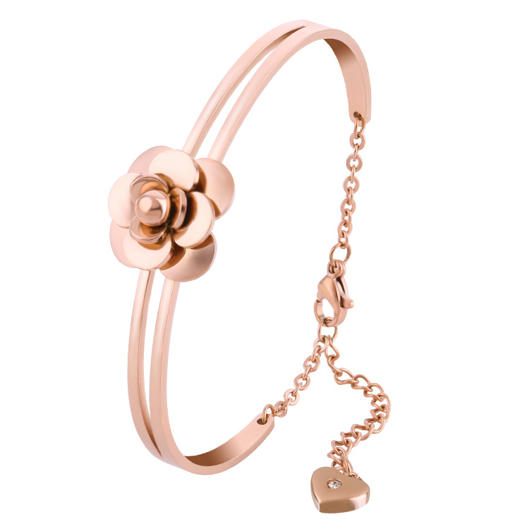 Stainless Steel Jewelry Fashion Flower Bangle Bracelet (hdx1122)