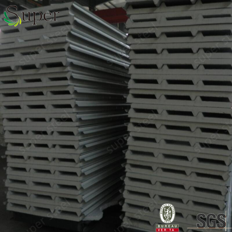 Light Steel Color Corrugated PU Sandwich Panel