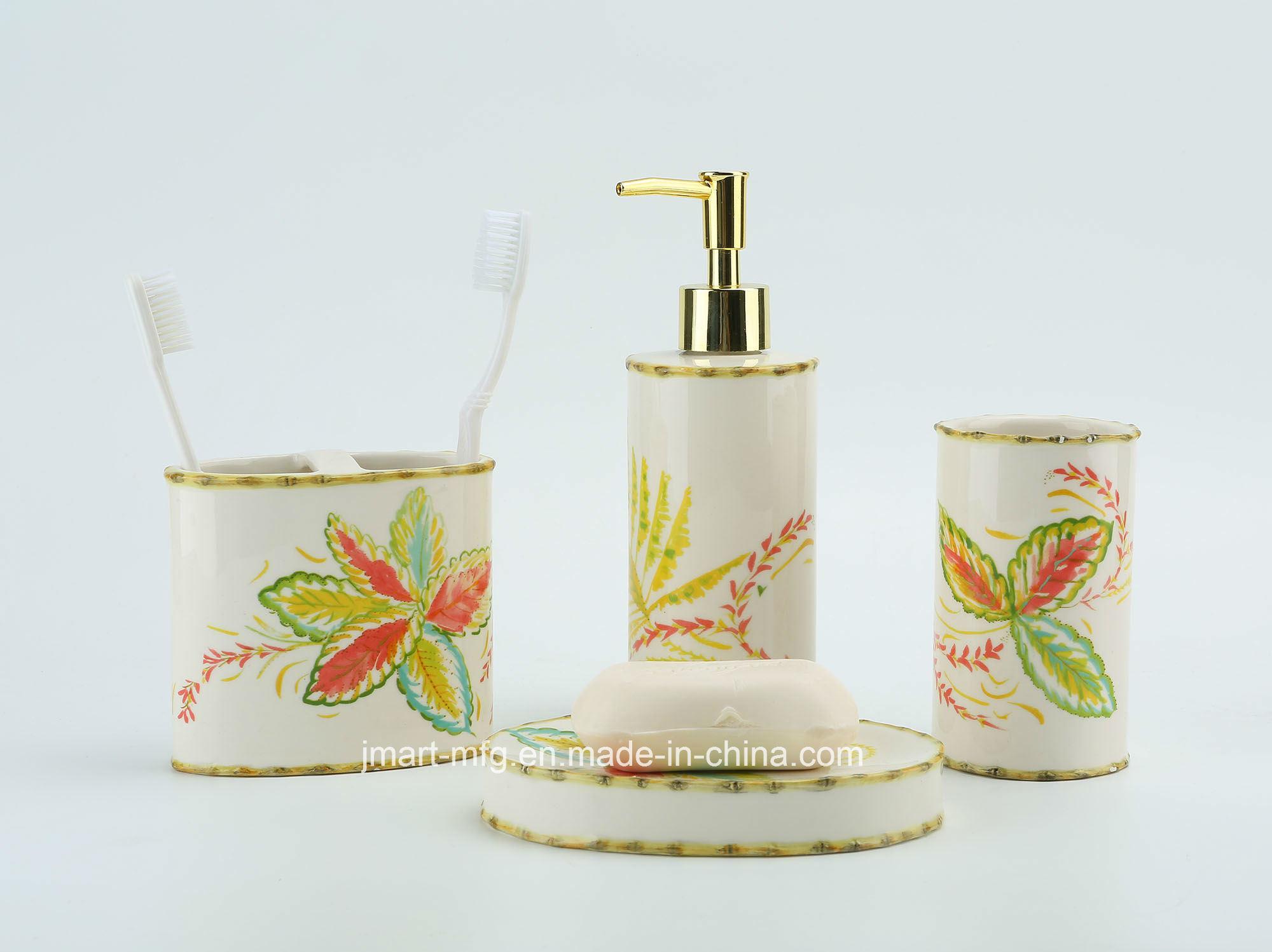 Tropical Palm Decal Hand Paint Ceramic Bathroom Accessory