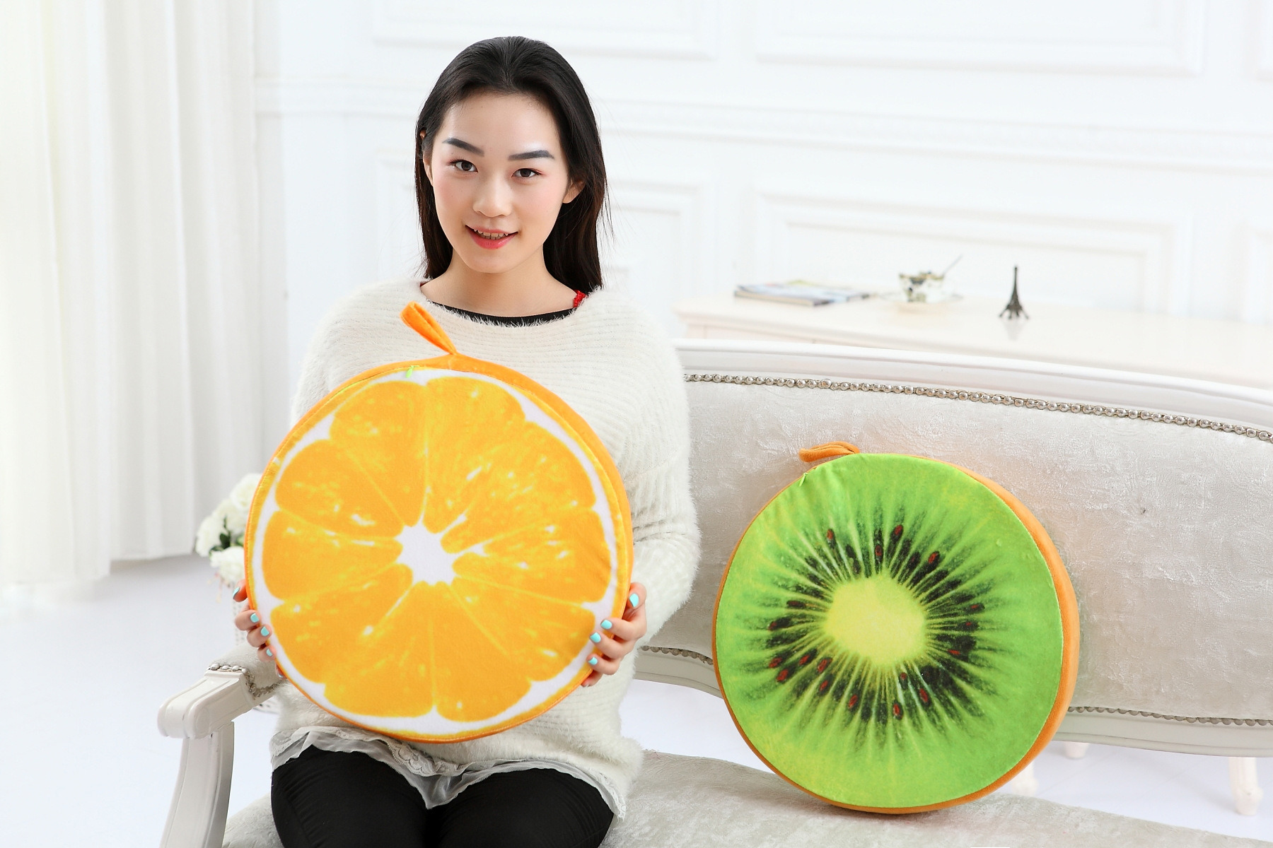 Popular Sofa Cushion Funny Fruit Design Cushioncover Office Back Cushion