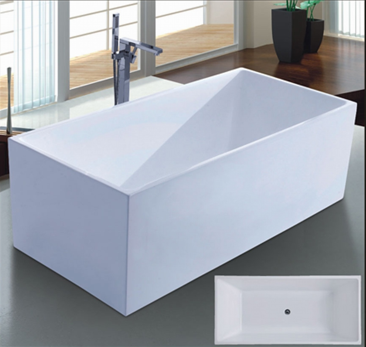 1700mm Right Angle Square Freestanding Bathtub SPA for Villa (AT-6708)