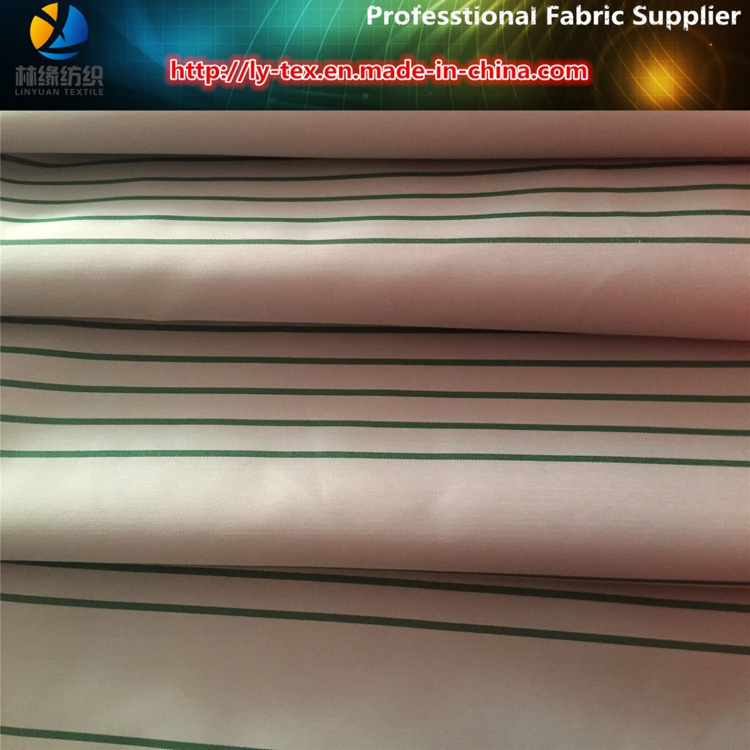 High Density Polyester Stripe Satin Yarn Dyed Fabric for Down Jacket