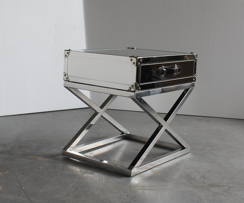 San Francisco Stainless Steel with Glass Top Side Table, Small Coffee Table