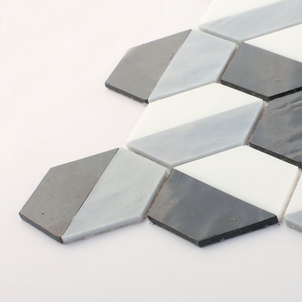 Europe Building Wall Black and White Glass Mosaic Floor Tile