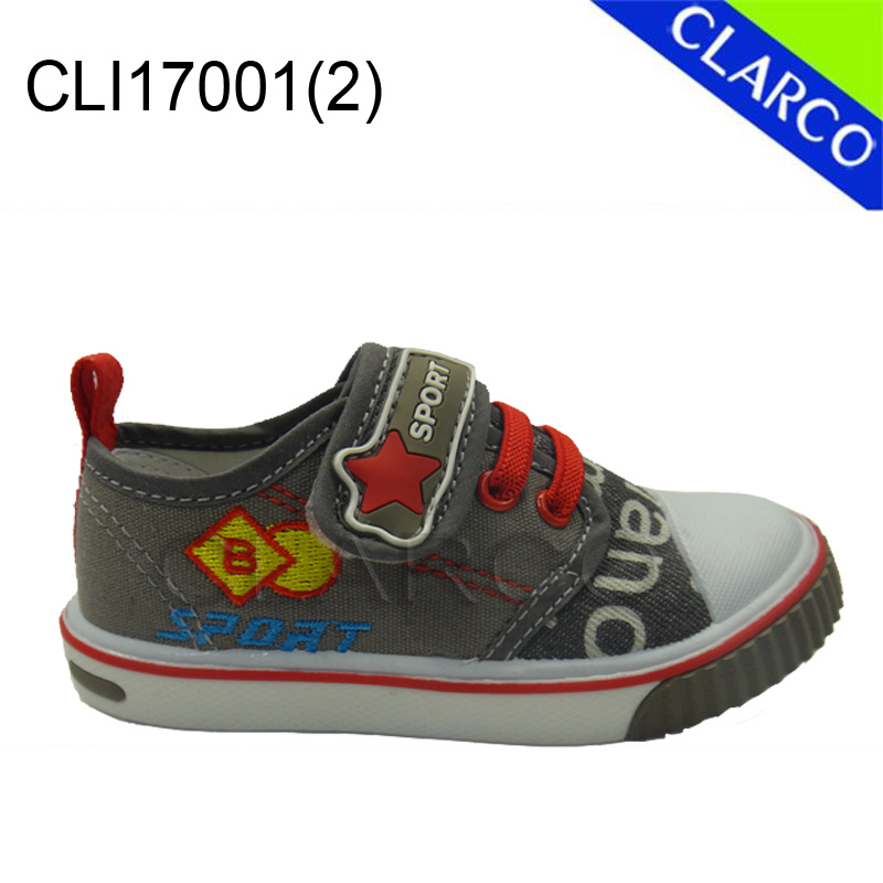 Kids Vulcanized Canvas Sports Sneaker Shoes with Injection Outsole