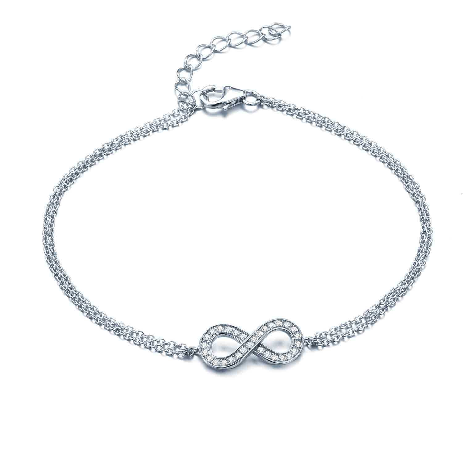 925 Silver Infinity Bracelet/Anklet with Box Chain