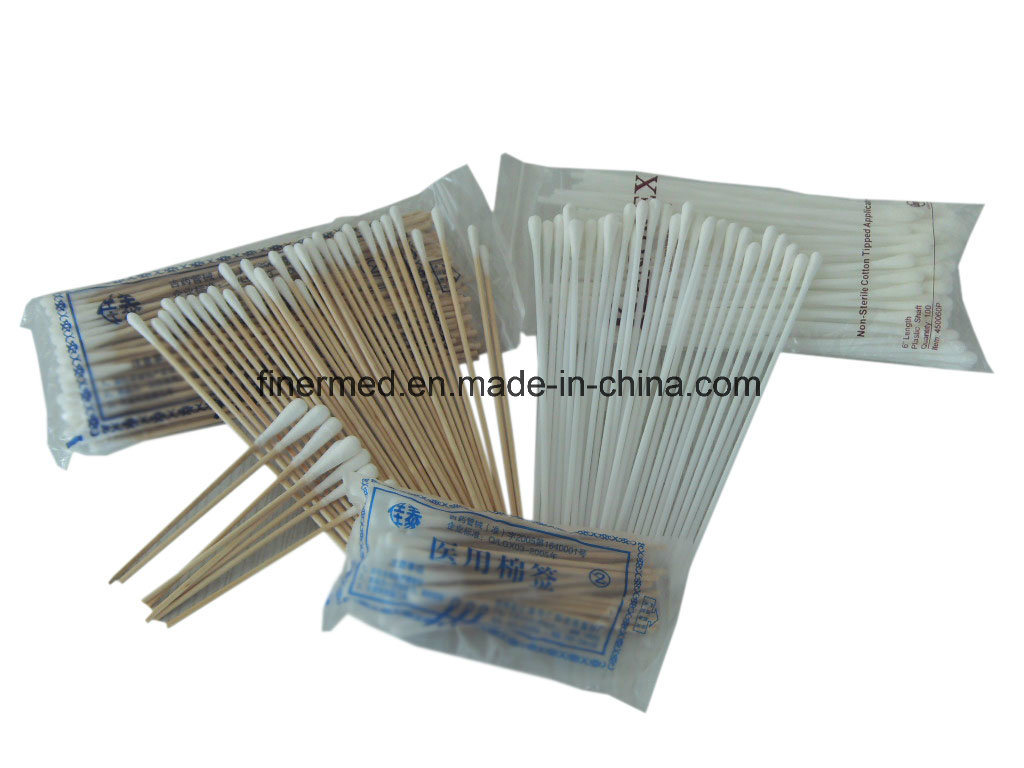 Wooden Stick Cotton Tipped Medical Swab