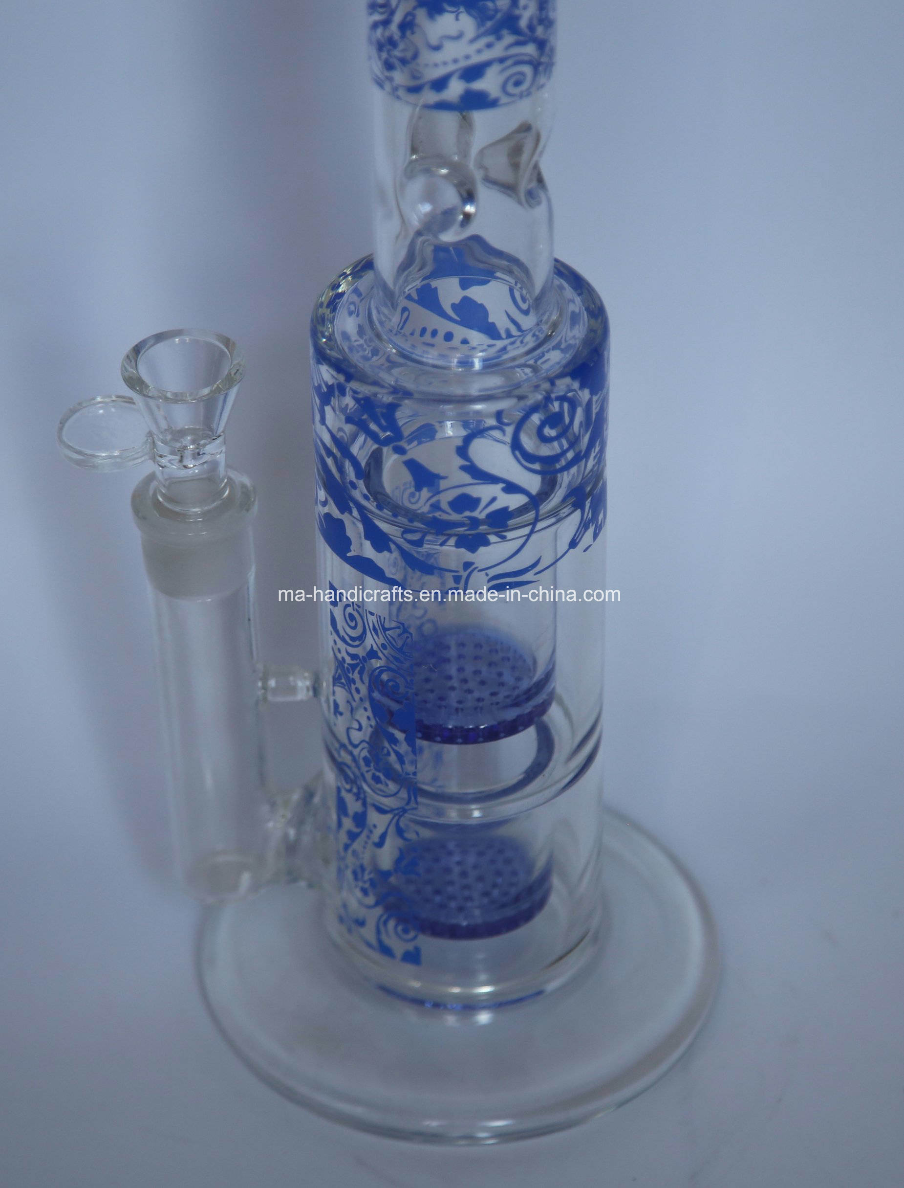 Colorful Engraved Large Smoking Pyrex Glass Water Pipes with Double Honeycomb Perc