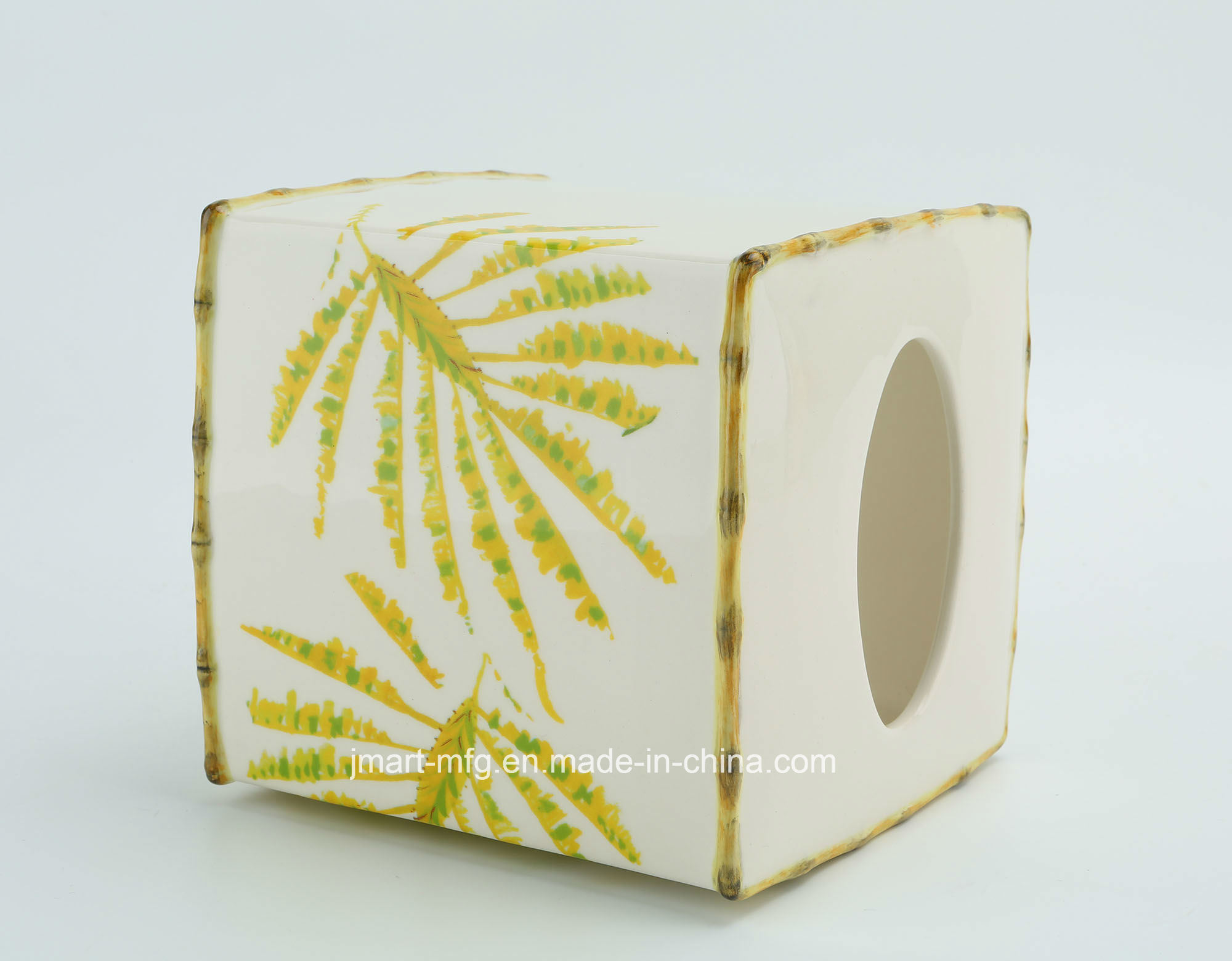 Tropical Palm Decal Hand Paint Ceramic Bathroom Accessory
