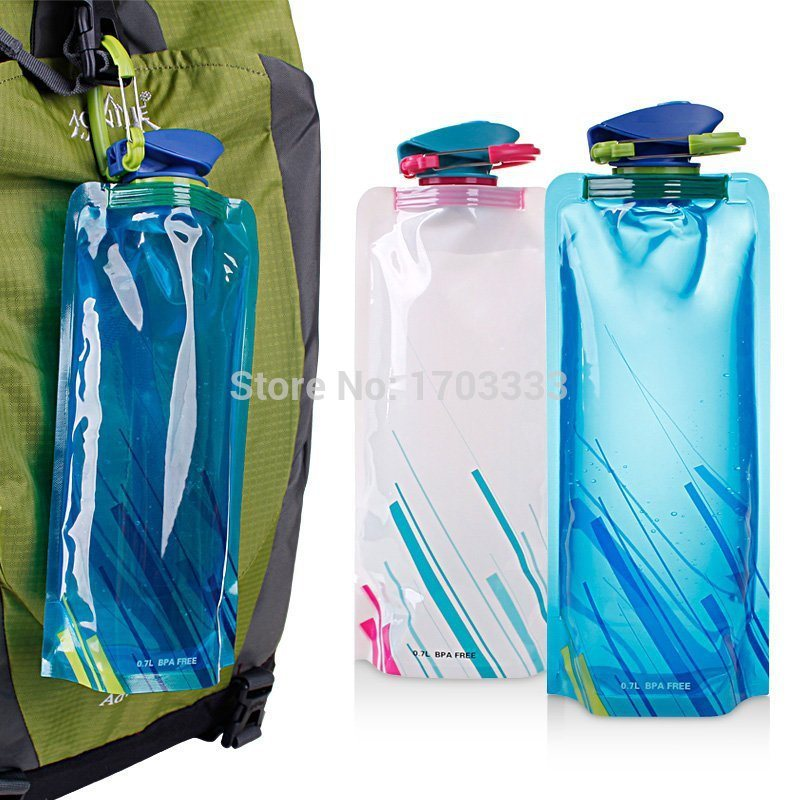 Flexible Collapsible Foldable Reusable Water Bottles Ice Bag Pouch
