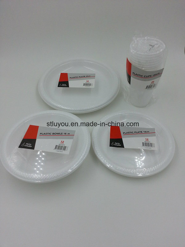 6/7/9/10 Inch Disposable Plastic Cheap White Plate