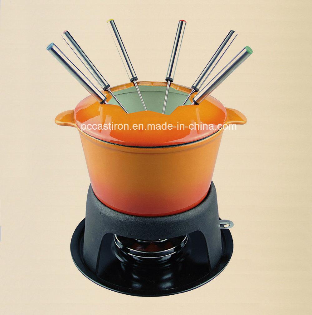 Euopean Popular Cast Iron Cookware Fondue Set