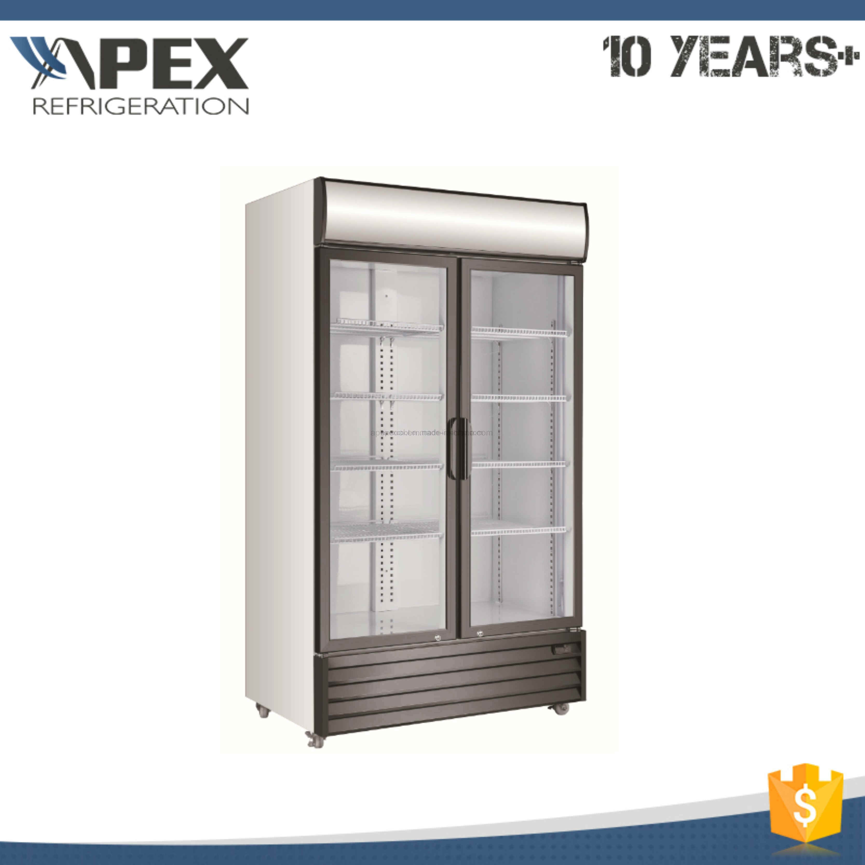 Double Swing Doors Upright Commercial Beverage Display Cooler with Ce, CB ETL Approved
