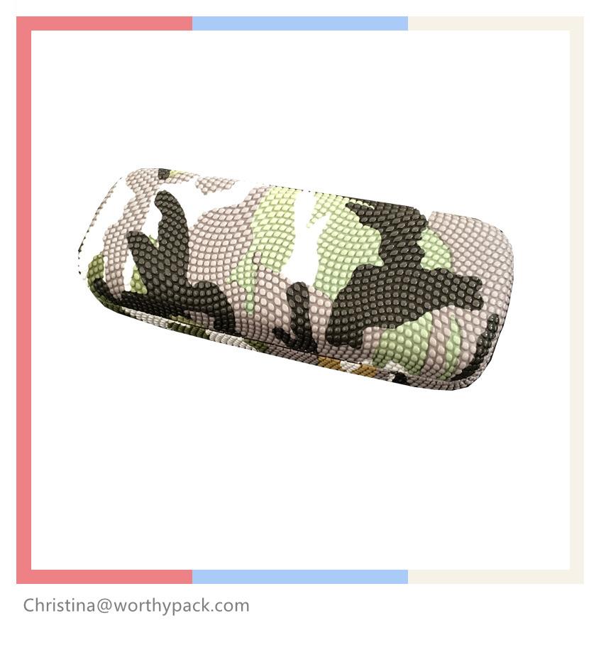Embossed Leather Eyeglasses Folding Case with Velvet Inner Tray