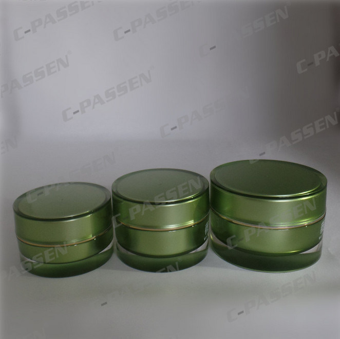 Green Acrylic Cream Jar Lotion Bottle for Cosmetic Packaging (PPC-NEW-069)