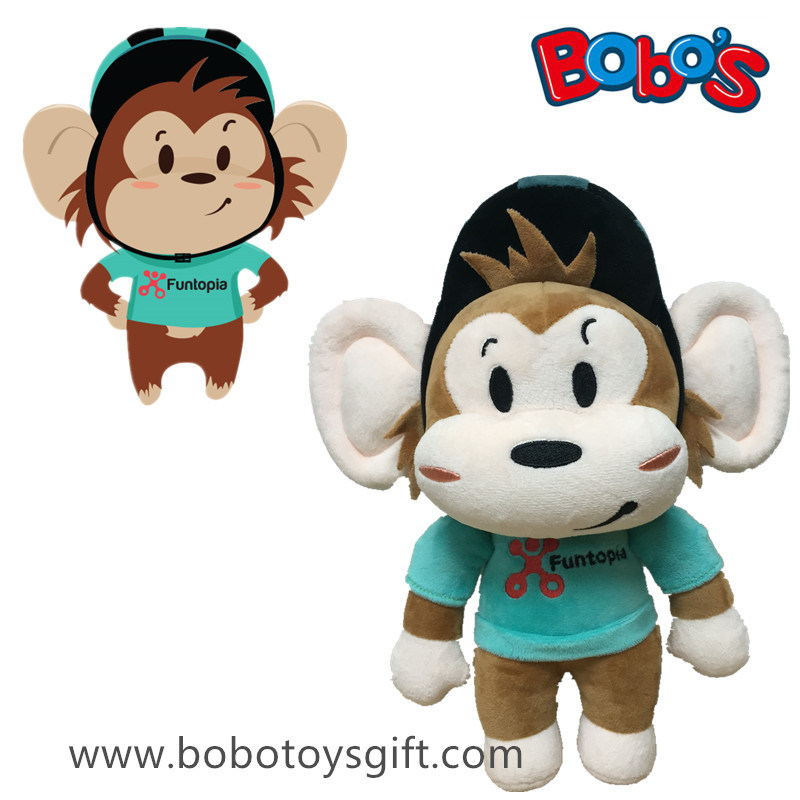 Custom Monkey with Helmet Plush Toy with Ce Approved