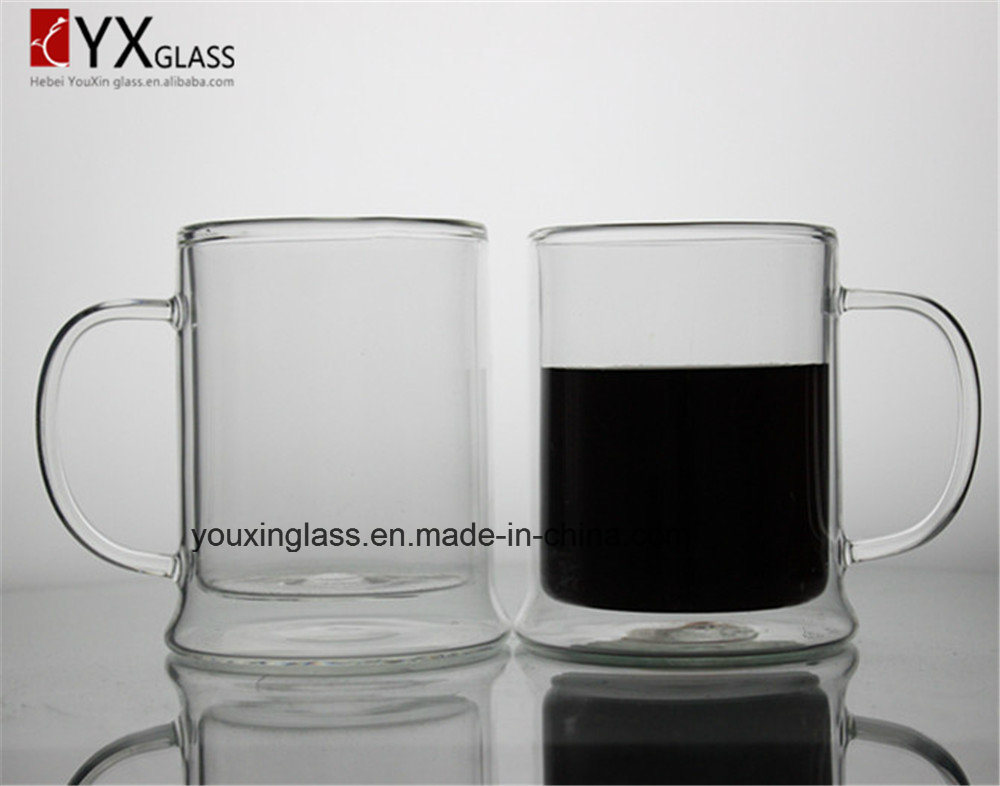 Big Volume Double Wall Glass Cup/Borosilicate Drinking Glass Beer Mug/New Style Heat Resistant Glassware