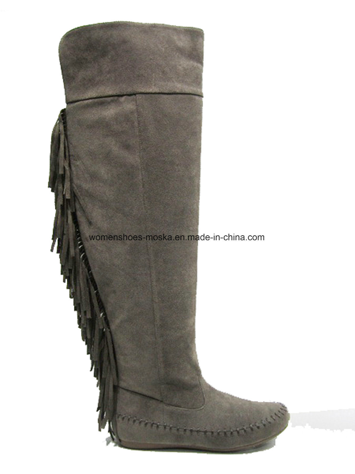 New Fashion Women Flat Heel Overknee Boots with Tassels