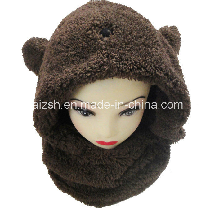 Sherpa Scarves Rabbit Ears Hat Integrated Double Layers Hat Scarf