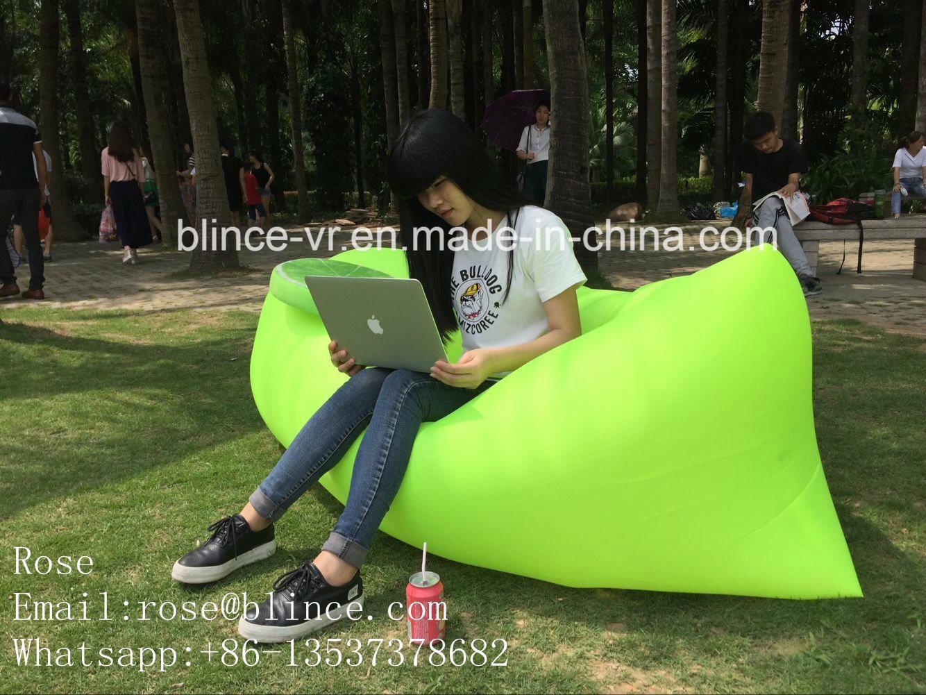 Shenzhen Sleeping Bag Nylon Fabric Custom Logo Hangout Sofa Air Lounge Sofa Bed