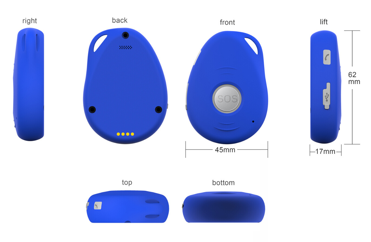 GPS Personal Tracker with Long Battery Lifespan, Built-in Speaker and Microphone