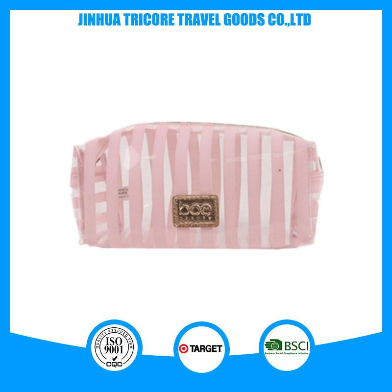Fashion Lady Stripe Transparent PVC Make-up Cosmetic Bags