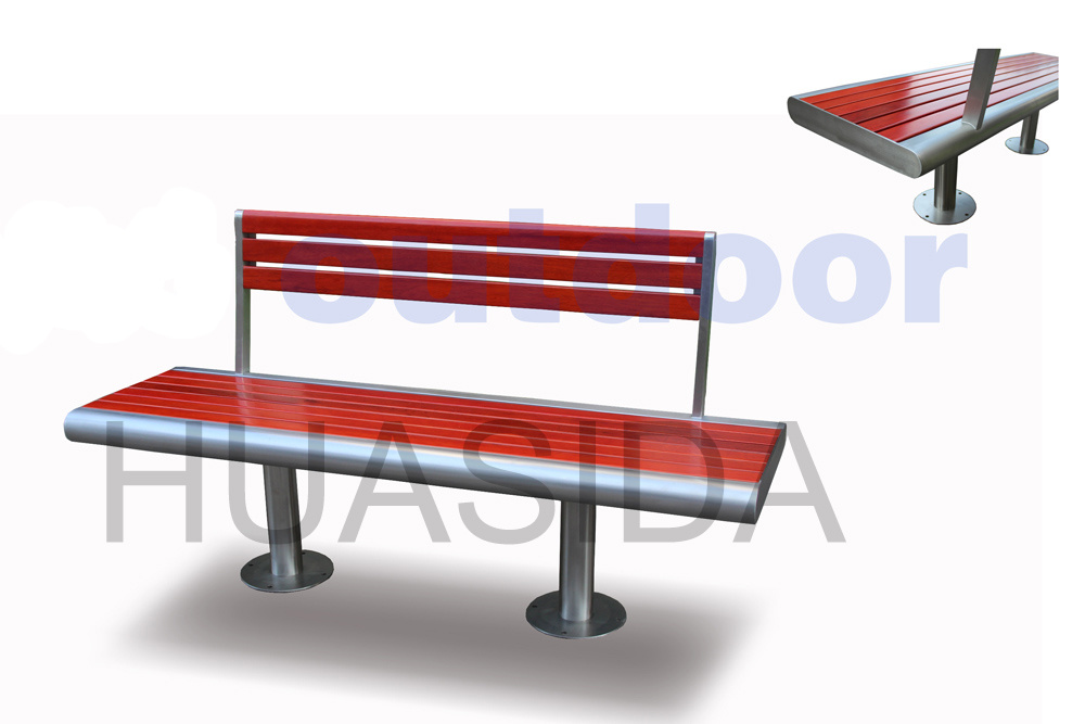 Park Fixed Bench with Back and Legs Assembled
