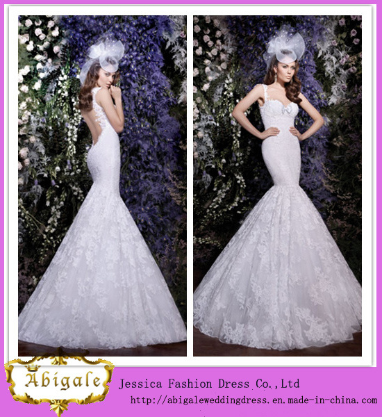 New Sexy Tulle Lace Appliques Backless Spaghetti Straps Mermaid Tail Wedding Dress Bridal Gown Yj0006