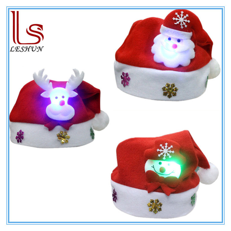 Christmas Decoration LED Flashing Santa Claus Hat for Kids