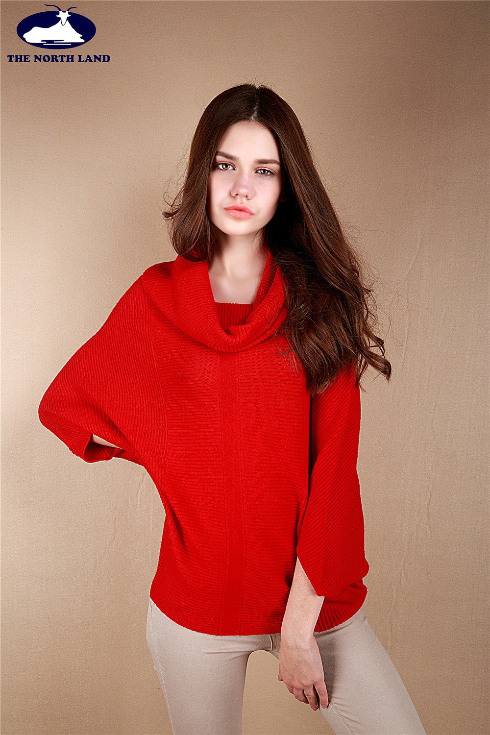 Cashmere Loose Neck Ribbed Poncho-Cashmere Sweater-Sweater