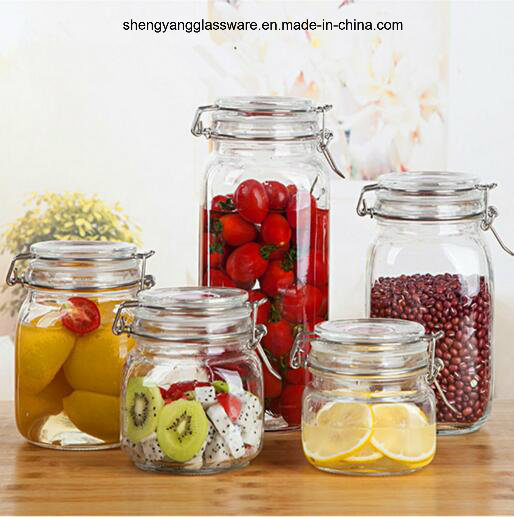 4PC Household Glass Simple Storage Jar Set with Glass Lid