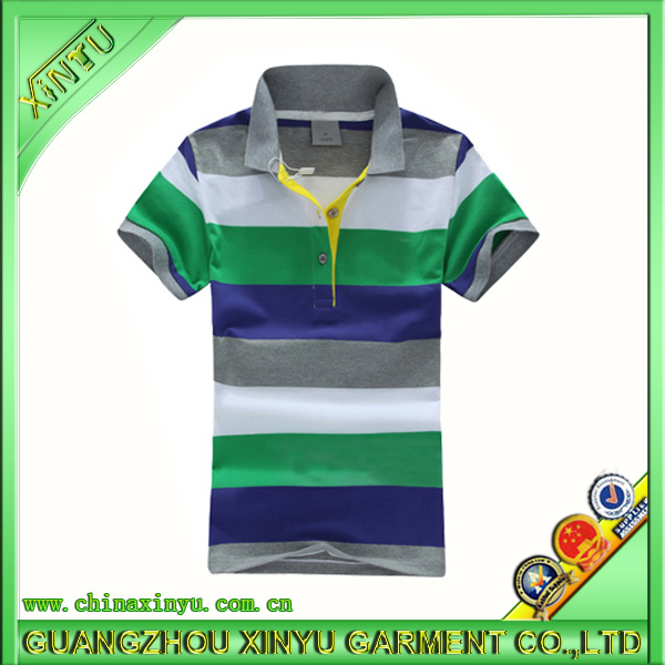 2017 Fashion Four Color Cotton Fabric Stripe Men Polo Shirt
