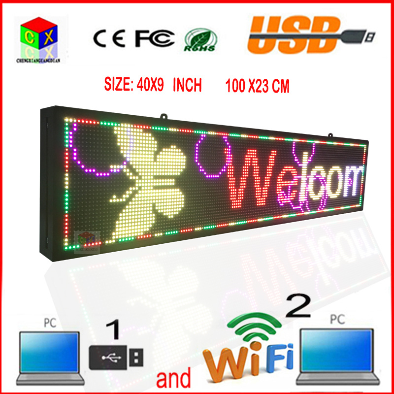 40X9 Inch Full-Color RGB LED Sign Wireless and USB Programmable Rolling Information P6 Indoor LED Display Screen