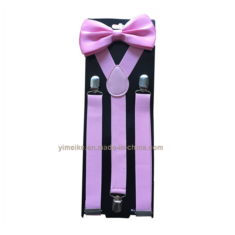 Hot Sale Adult Unisex Adjustable Solid Color Suspender and Bowtie Set