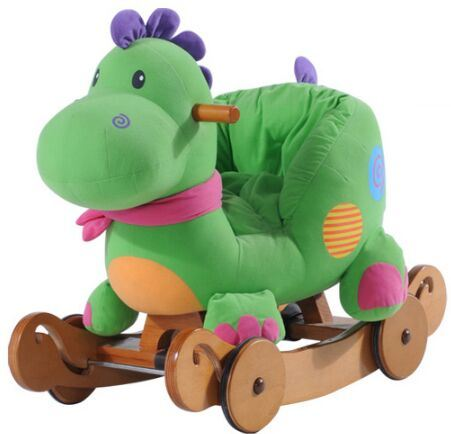 Double Function Wooden Rocking Animal-Dinosaur Rocker with Safeguard