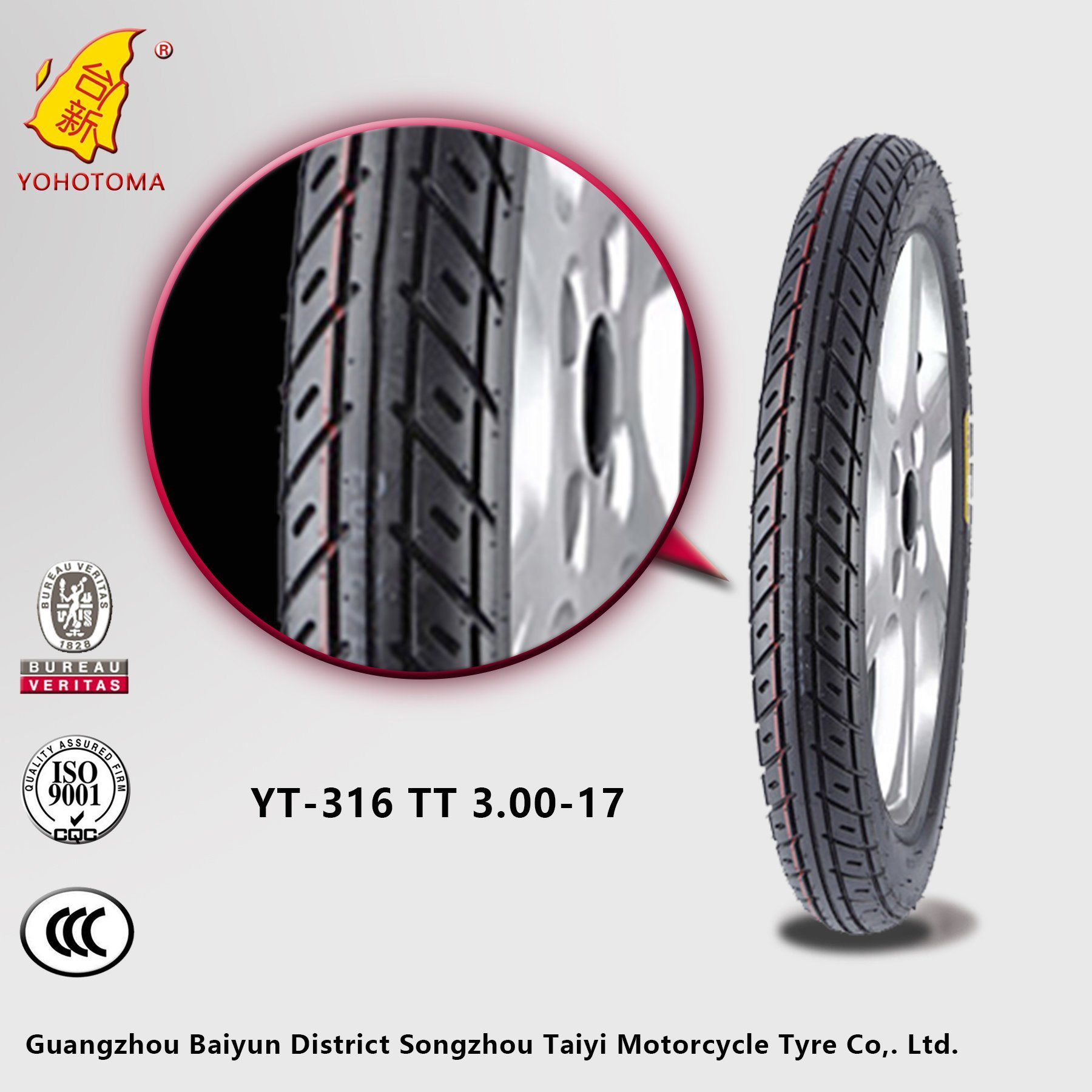 Motorcycle Parts Market Supply Motorcycle Tyre Yt-316 Tt3.00-17