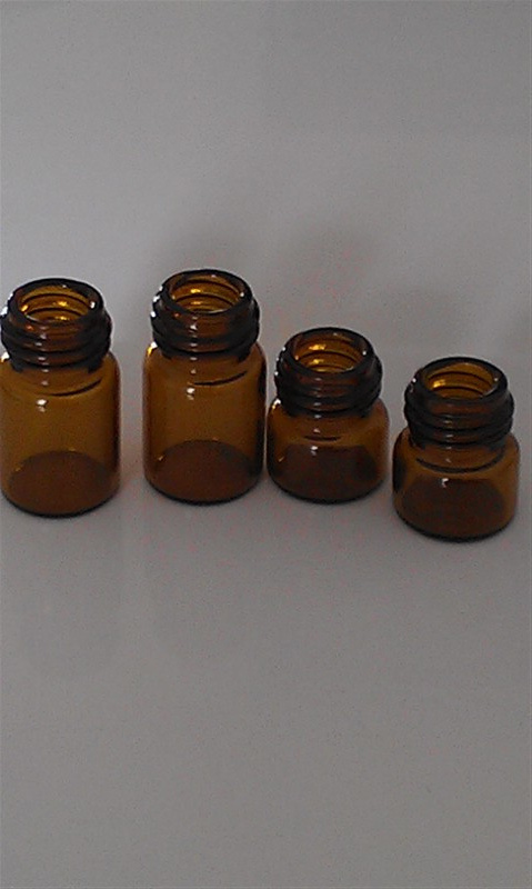Tubular Amber Glass Jar for Essential Oil Dropper