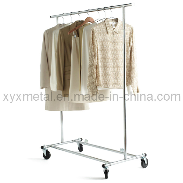 Folding Chromed Rolling Single Rail Clothing Garment Cloth Clothes Rack