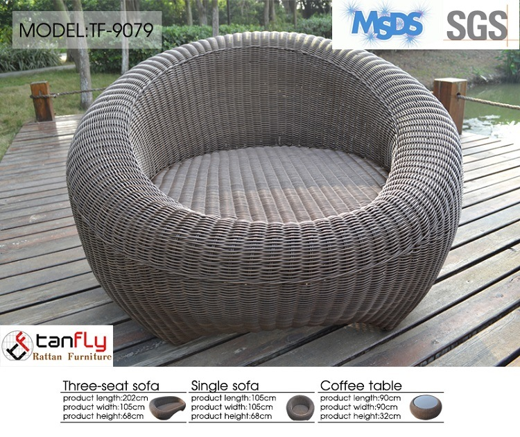 High End Patio Furniture All Weather PE Rattan Sofa Set