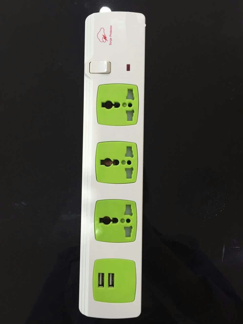 3 Way Universal Power Strip Extension Socket with Dual USB