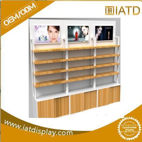Customized Wooden Floor Store Display for Wine Bottle/Milk/Beer